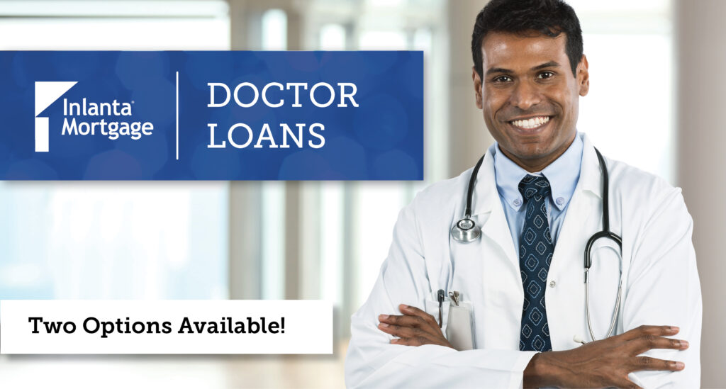 photo of male doctor with Doctor Loans text