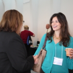 Jackie Lefco from CBC Innovis greets Oak Brook Sales Manager Siomara Barboza.